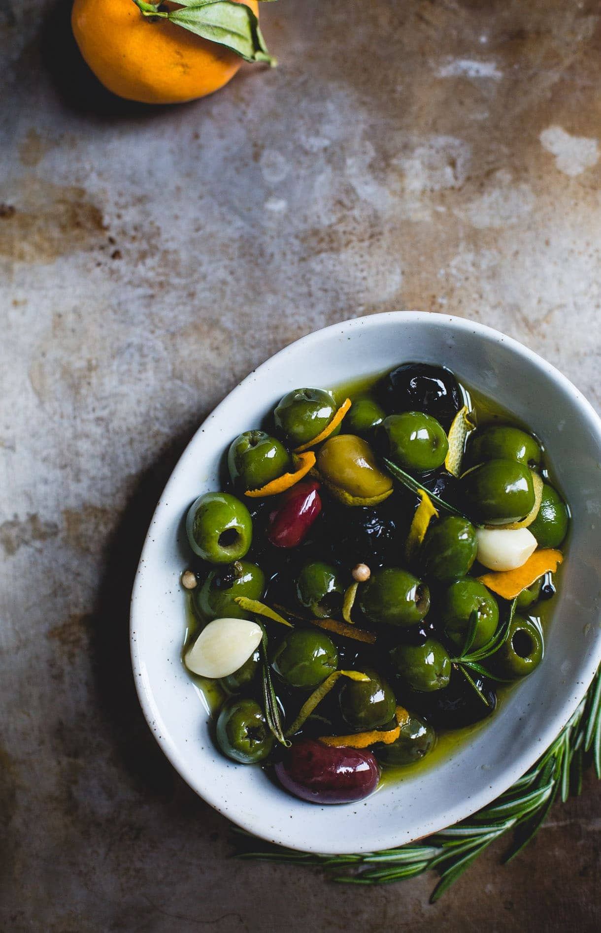 Warm Olives with Citrus, Rosemary, and Gin {recipe}