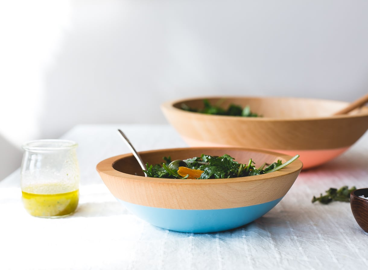 Unassuming Baby Kale Salad with Shallot Vinaigrette {paleo, vegan}