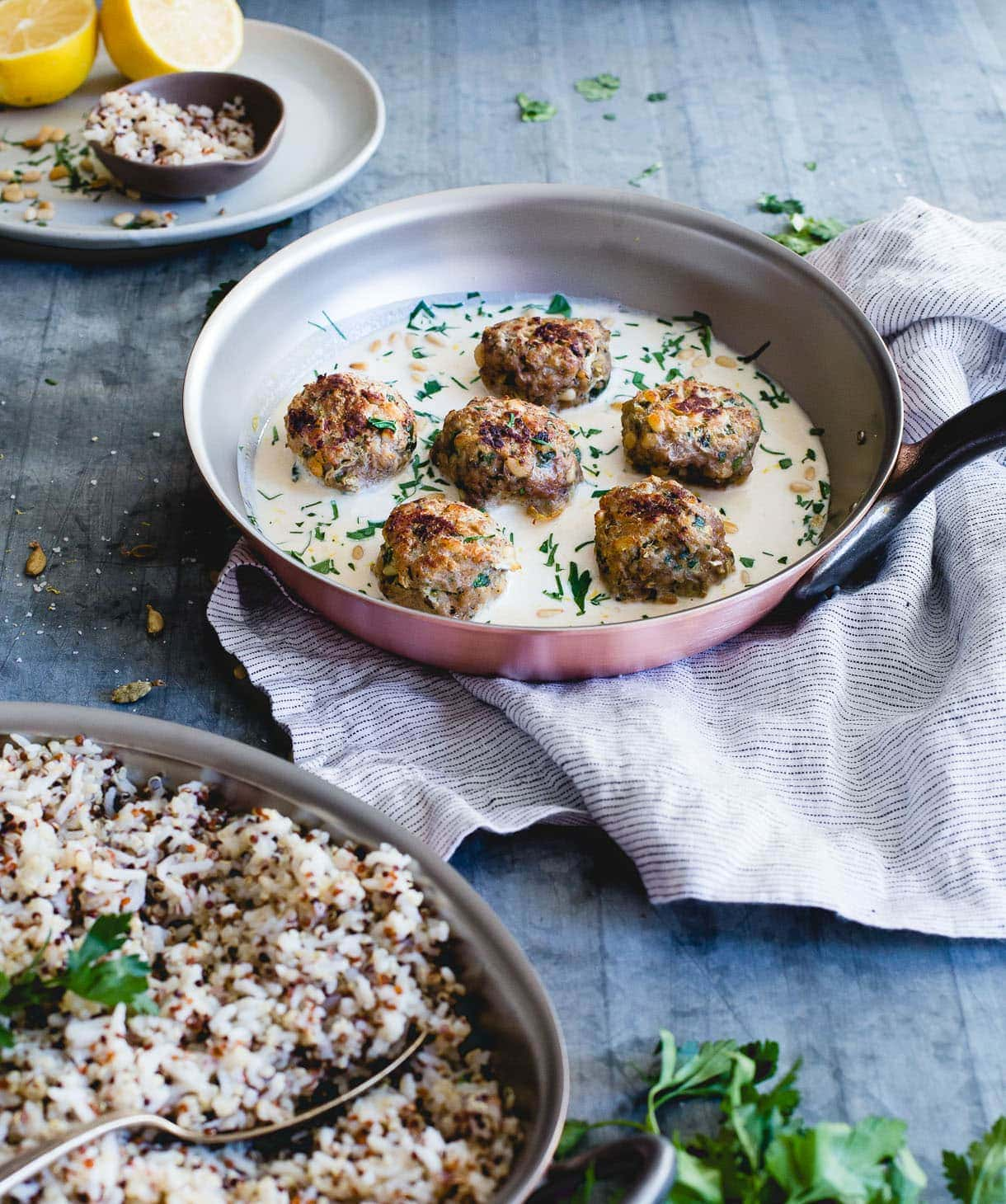 Lemon Cardamom Meatballs with Pine Nuts and Garlic Tahini Sauce