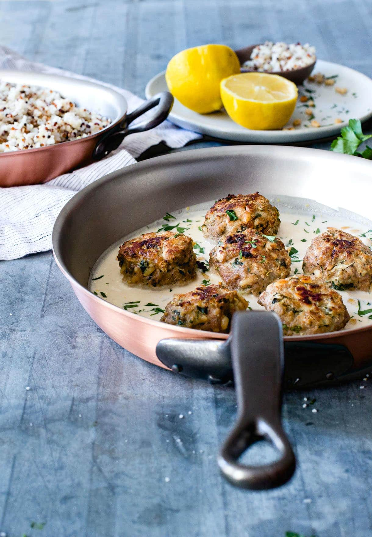 Lemon Cardamom Meatballs with Pine Nuts and Garlic Tahini Sauce {paleo}