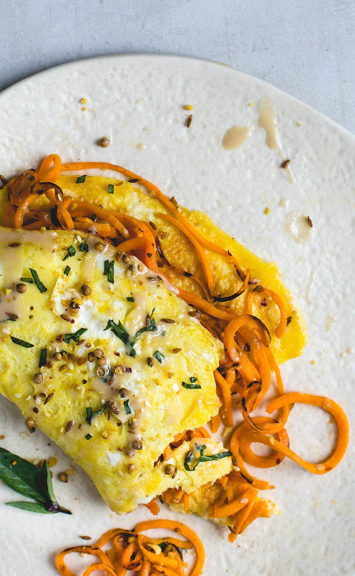 Two Egg Omelette with Tahini Sweet Potato Noodles {paleo, dairy-free}