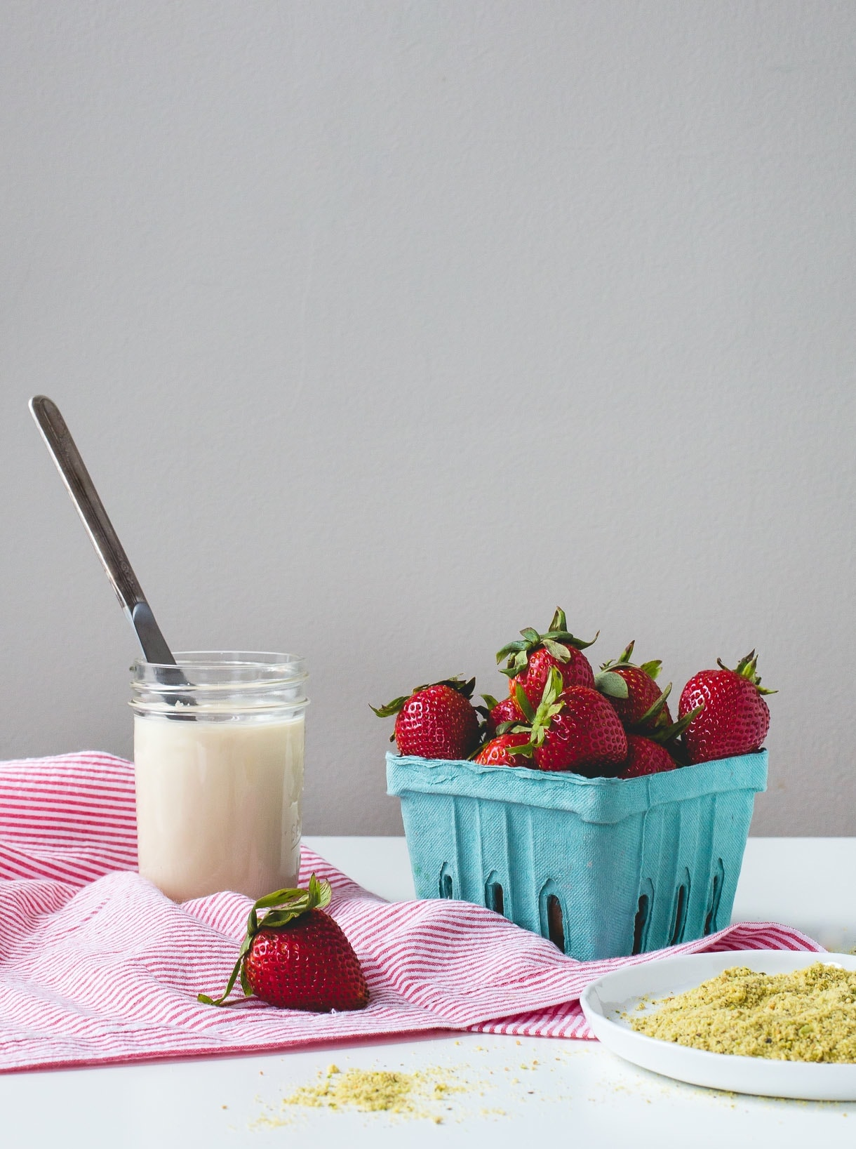 3 Ingredient Coconut Butter Dipped Strawberries with Pistachio Dust