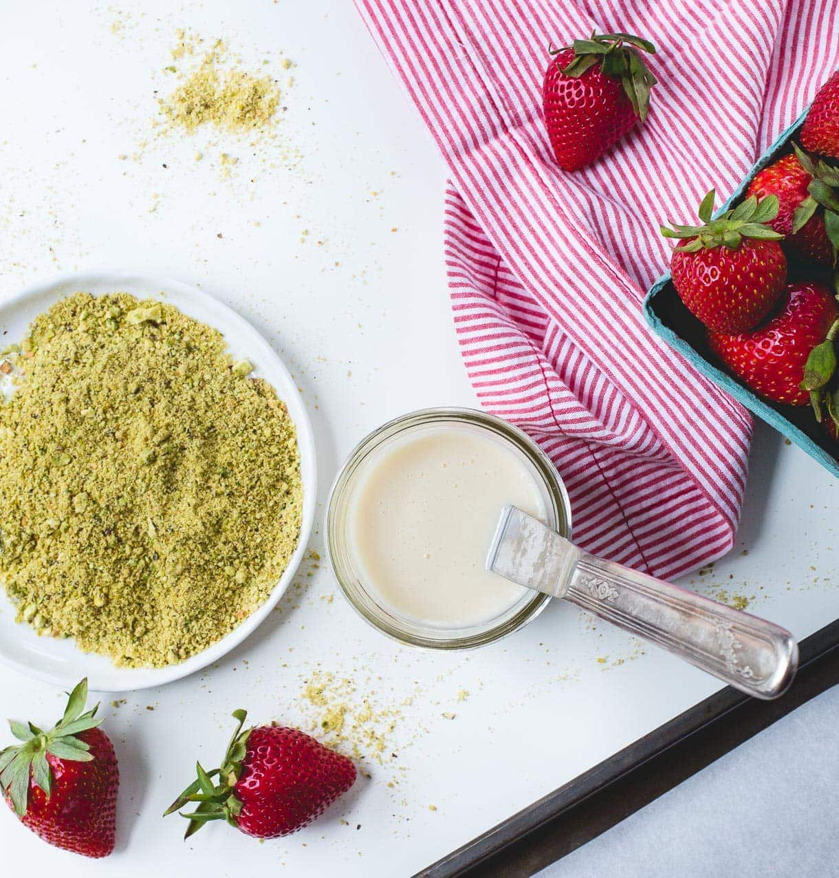 3 Ingredient Coconut Butter Dipped Strawberries with Pistachio Dust {paleo}