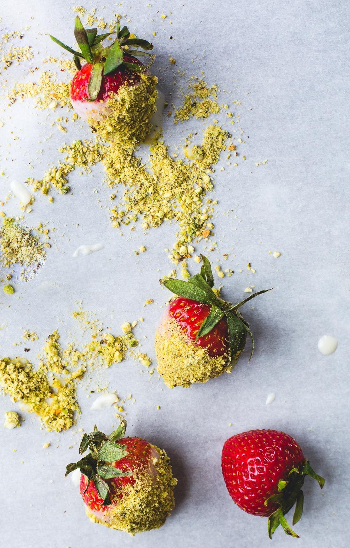 3 Ingredient Coconut Butter Dipped Strawberries with Pistachio Dust {vegan}