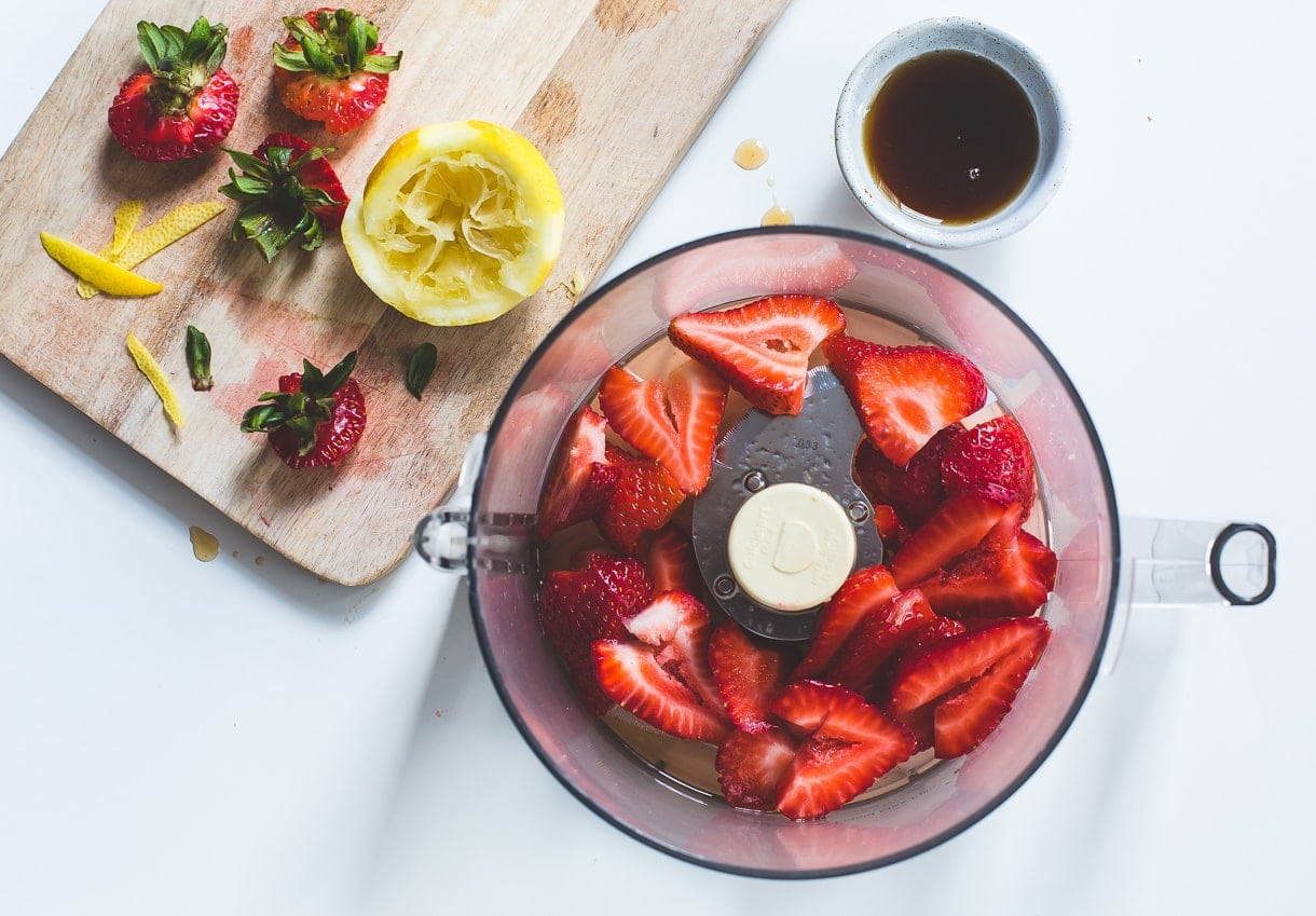 Strawberry French 75 Cocktail {heartbeet kitchen blog} - naturally sweetened with a touch of maple syrup