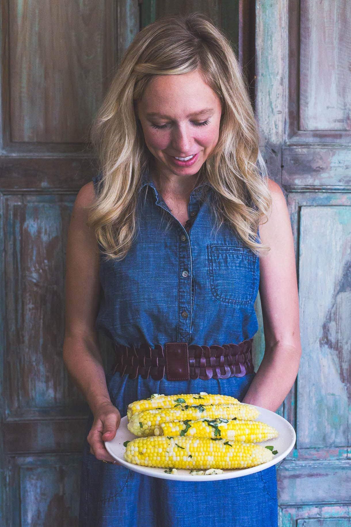 Basil Garlic Butter Sweet Corn {heartbeet kitchen blog}