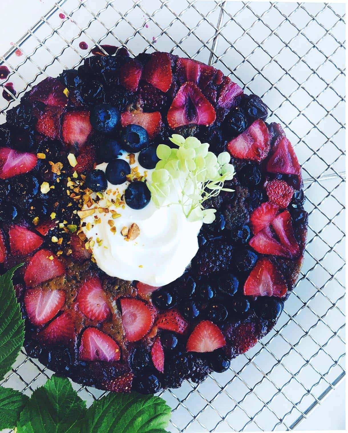 Upside Down Triple Berry Matcha Cake {gluten-free}