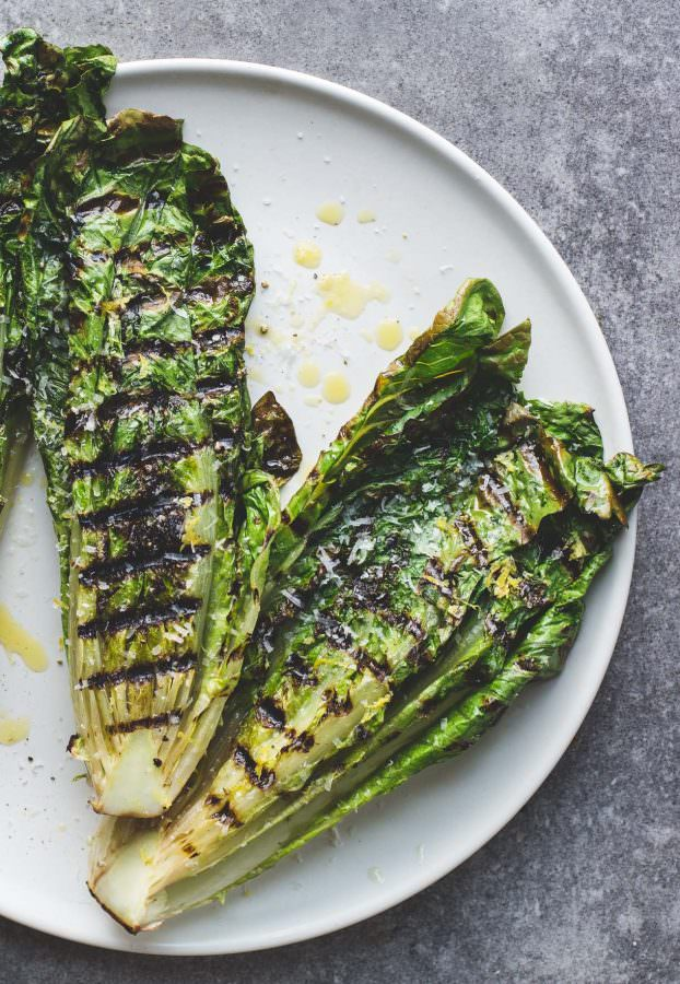Grilled Romaine Lettuce Salad ~ easy vegetarian grilling recipe with how to video