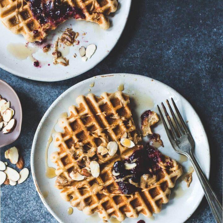 Kefir Waffles with Almond Butter + Jam