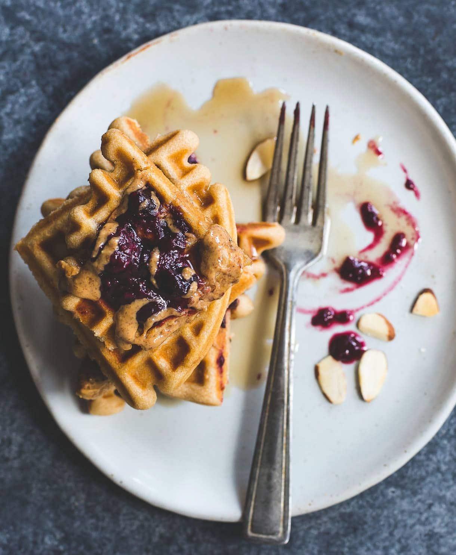 Gluten-Free Kefir Waffles with Almond Butter and Jam