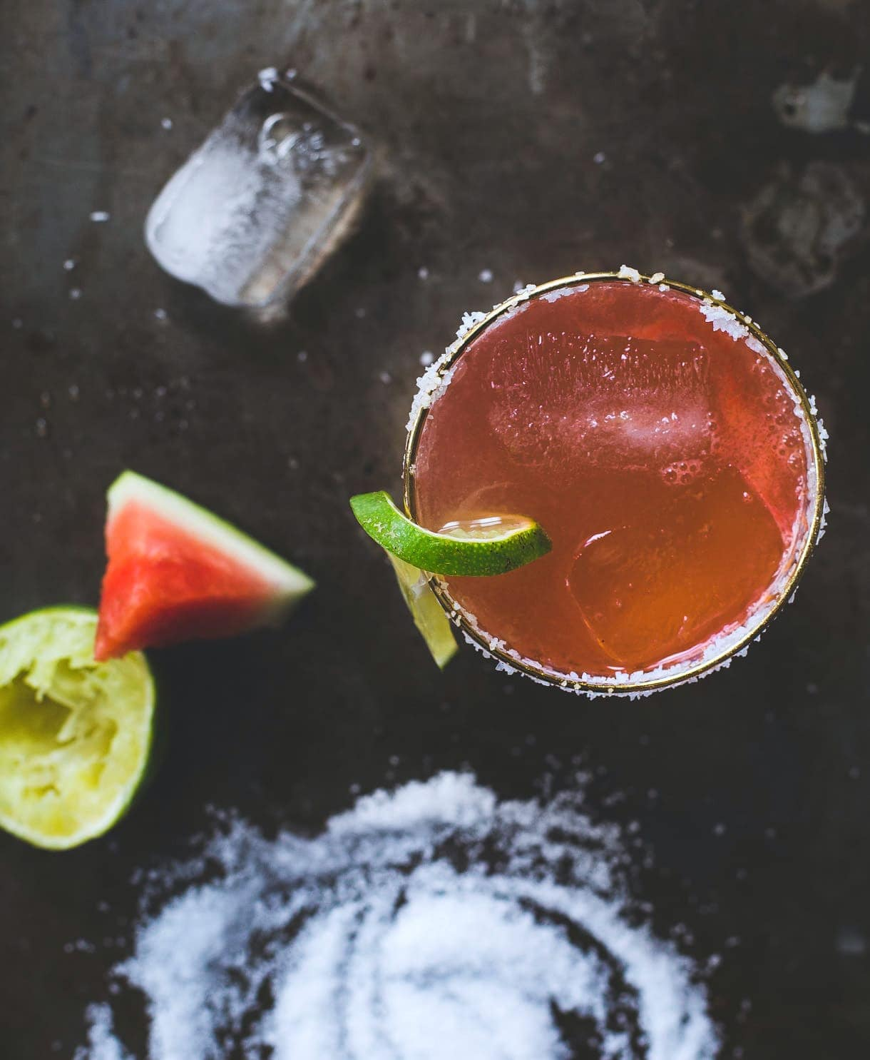 Salty Watermelon Shrub Elixir {sweetened with maple syrup, paleo}
