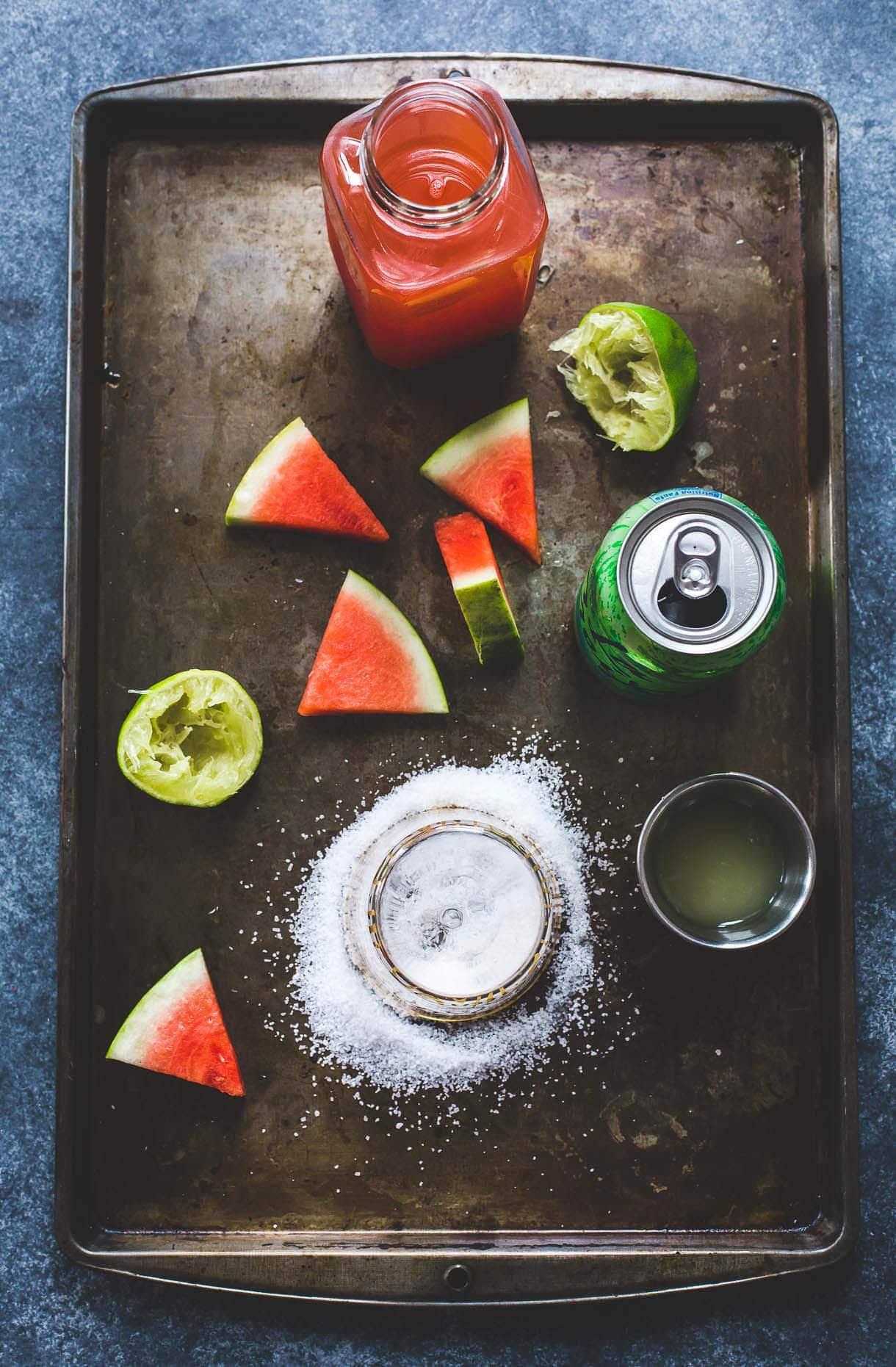 salty watermelon shrub elixir {sweetened with maple}