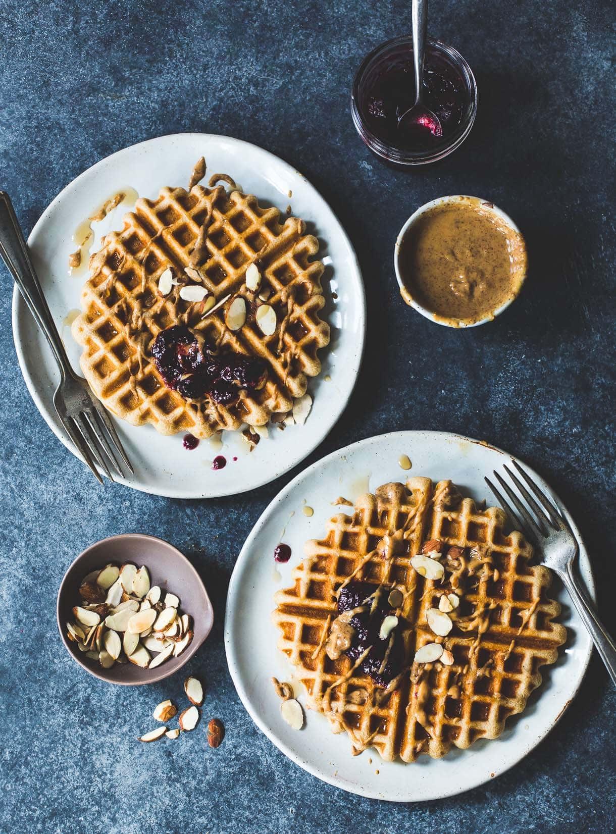 Golden Gluten-Free Waffles with Almond Butter & Jam: made with kefir
