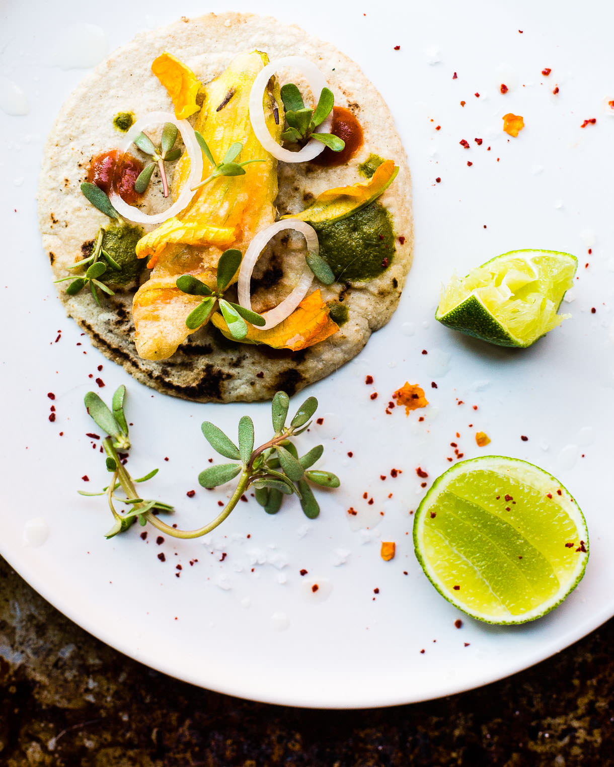 gluten-free Fried Squash Blossom Tacos stuffed with Queso Fundido