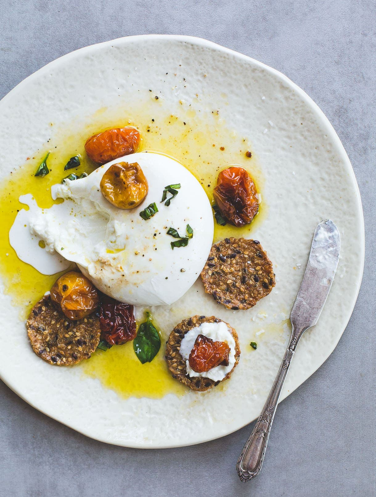 Creamy Burrata Cheese with Slow Roasted Tomatoes & Olive Oil