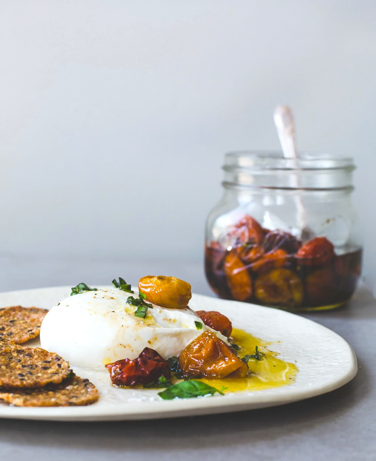 Burrata with Slow Roasted Cherry Tomatoes and Olive Oil