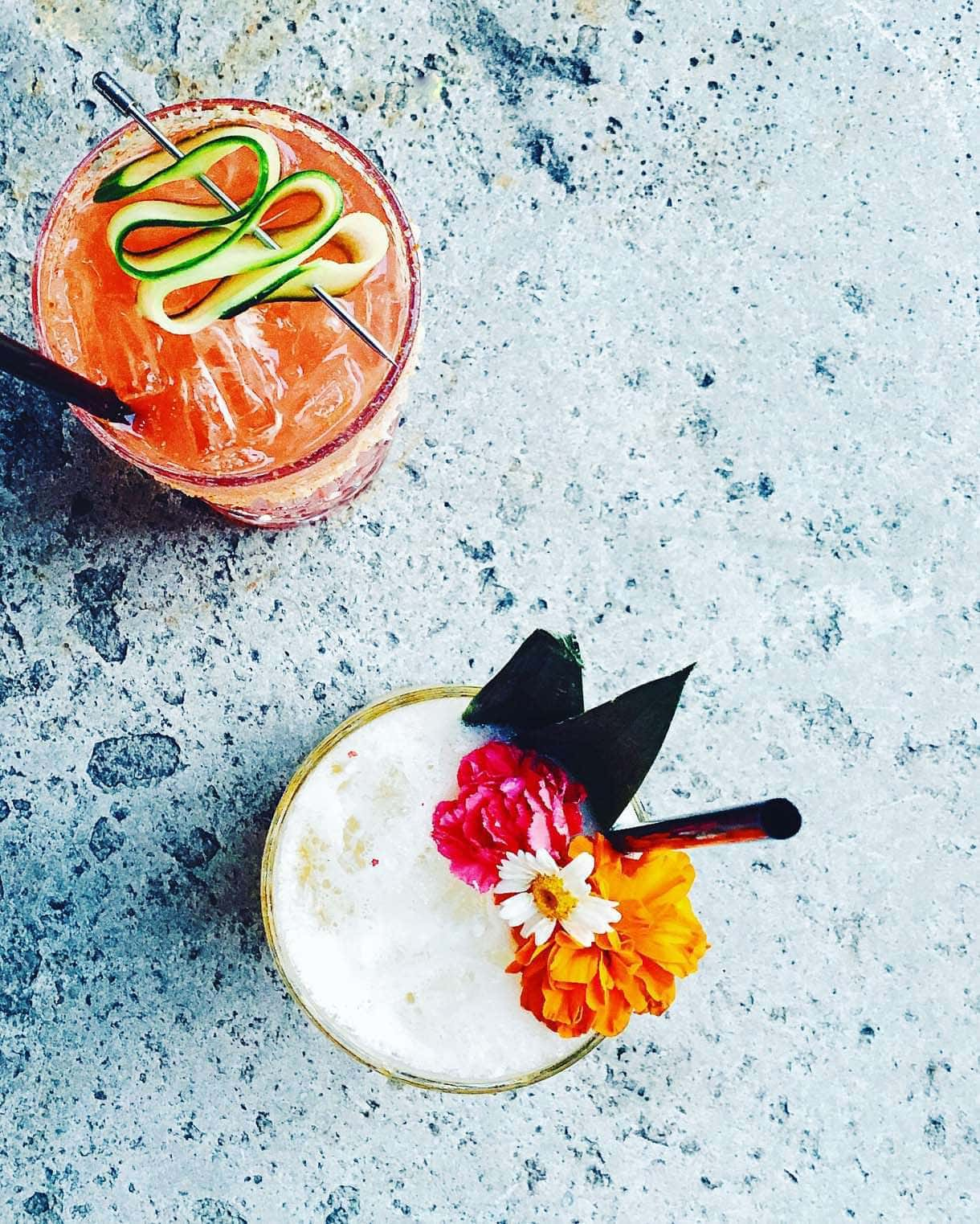 tiki drinks {floral granishes}