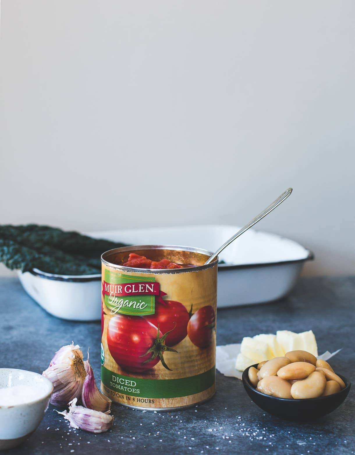 Cozy Gluten-Free Gratin with Butter Roasted Tomatoes, Beans and Kale