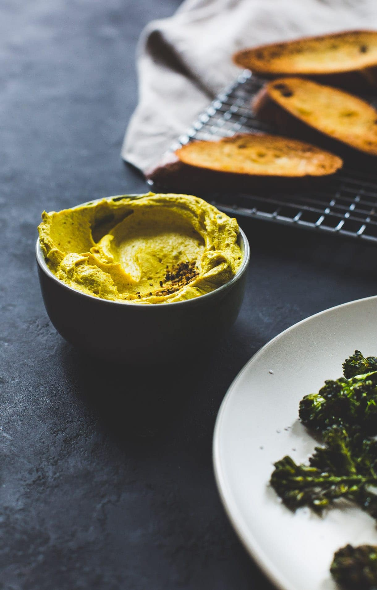 healthy appetizer: Roasted Broccoli and Turmeric Goat Cheese