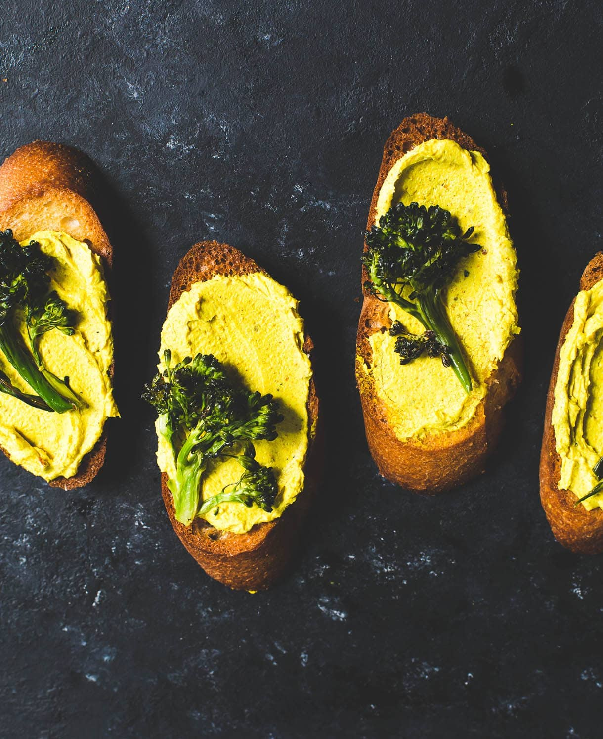 Roasted Broccoli and Turmeric Goat Cheese Crostini {heartbeet kitchen blog}