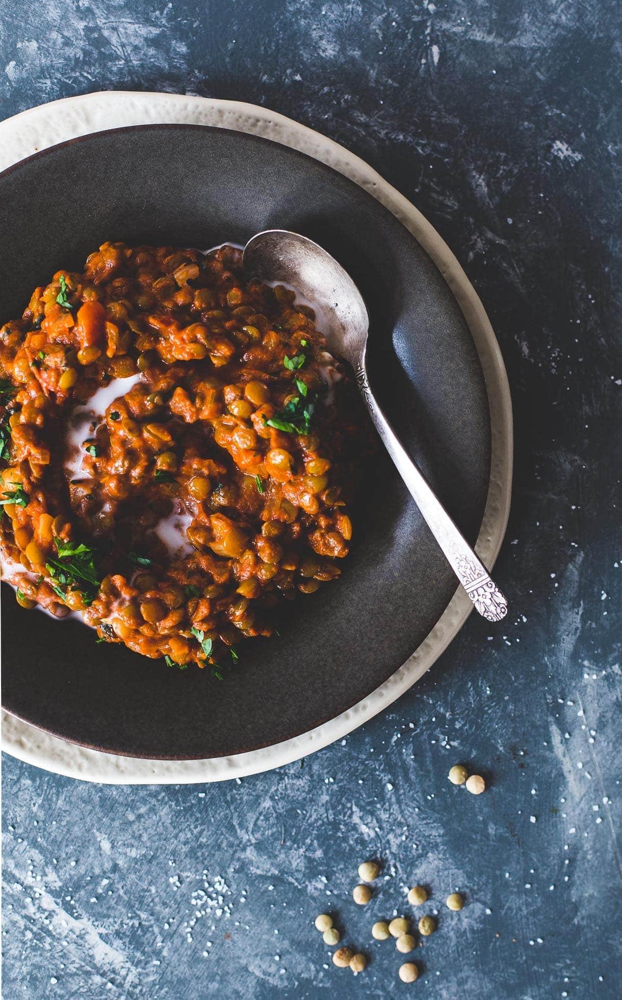 Smoky Tomato Lentils in Coconut Milk {VEGAN}