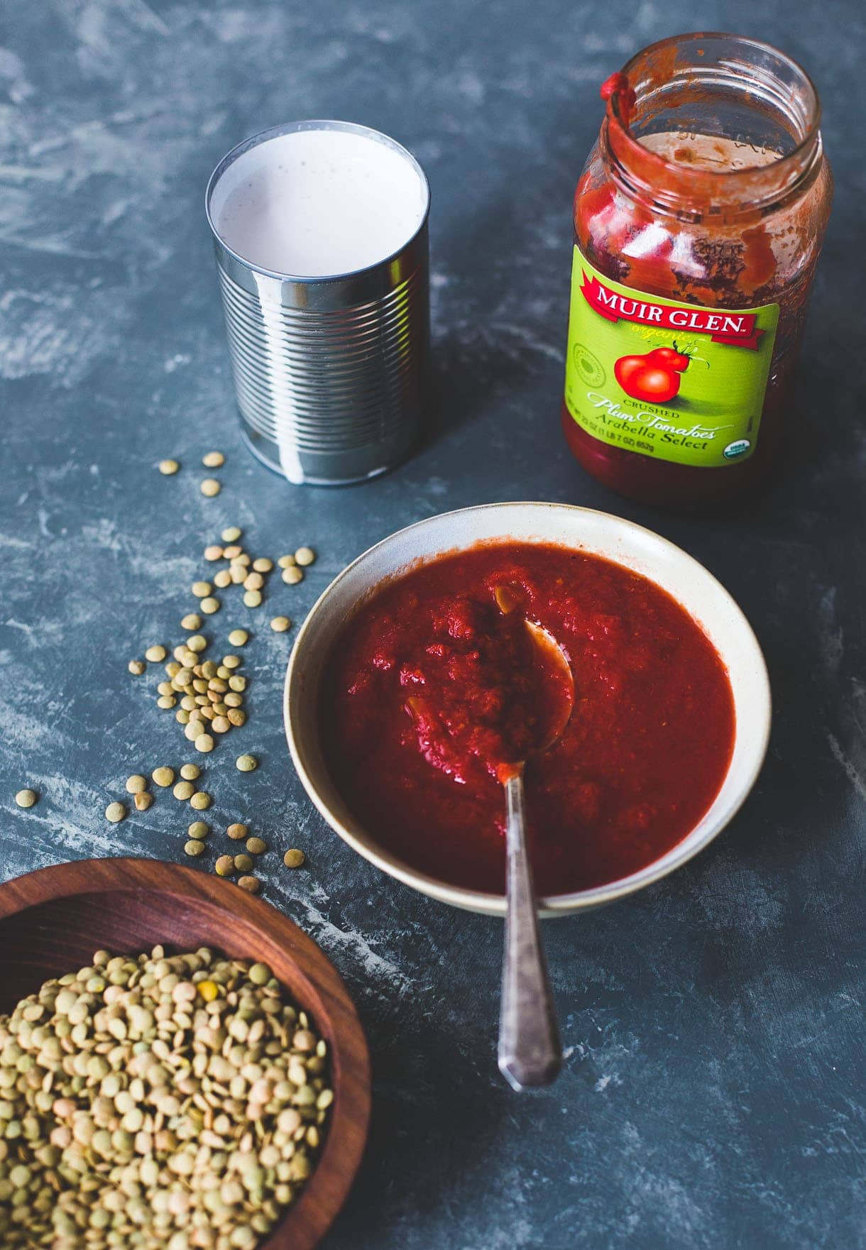 Smoky Tomato Lentils cooked in Coconut Milk {gluten-free, dairy-free}