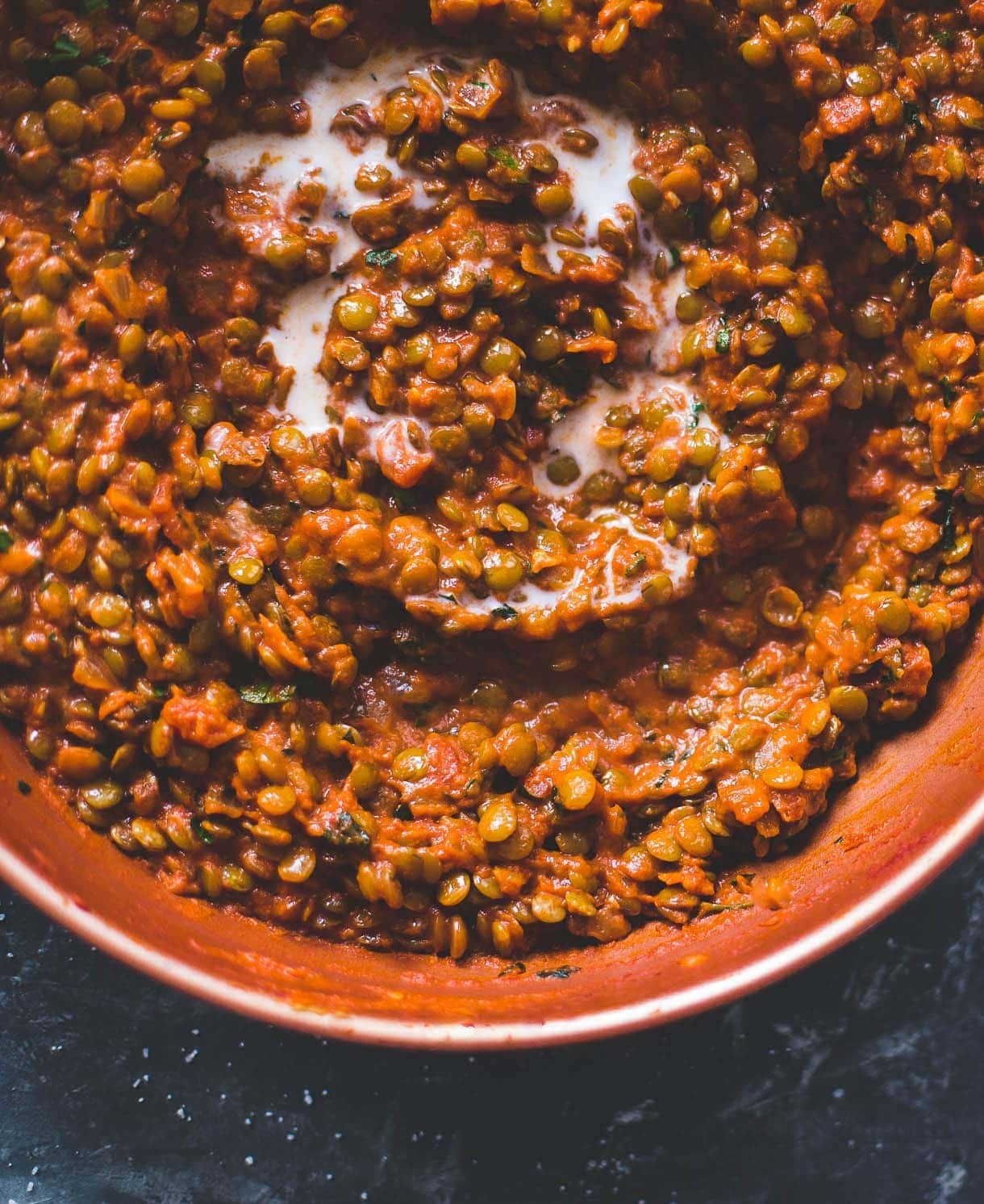 Smoky Vegan Lentils {with crushed tomatoes and coconut milk}