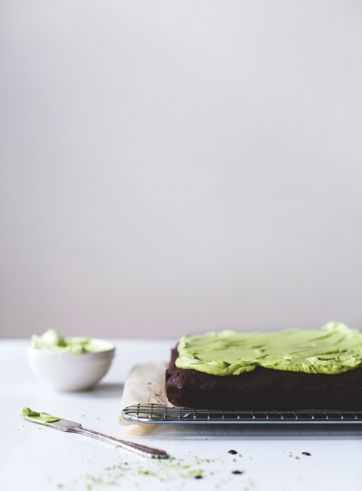 Dark Cocoa Brownies with Matcha Frosting