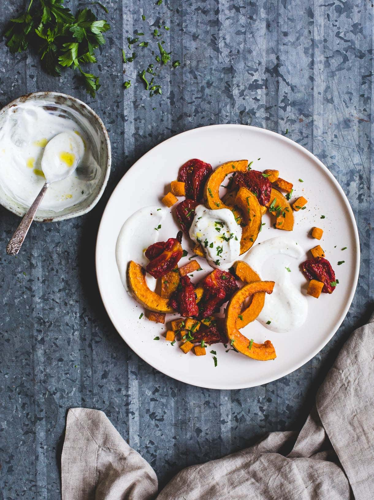Oven Roasted Butternut Squash and Tomatoes with Cardamom Yogurt Sauce