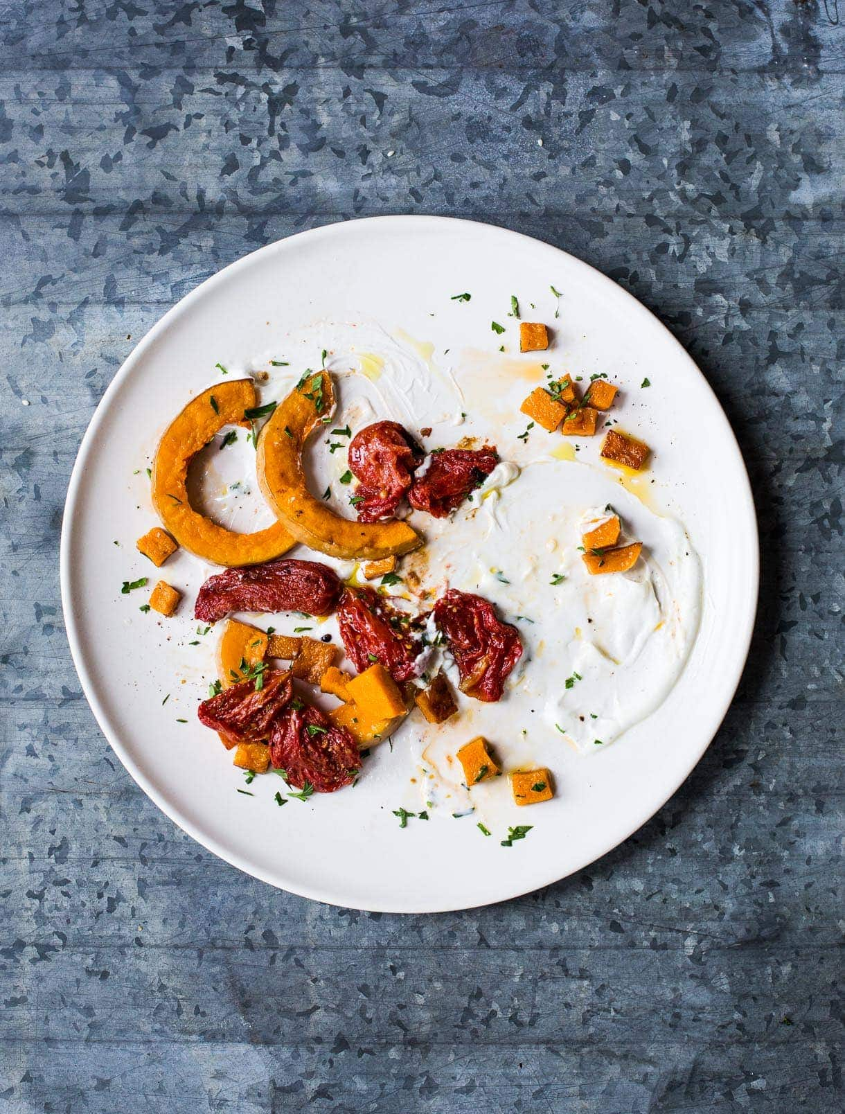 Roasted Tomatoes and Butternut Squash with Cardamom Yogurt Sauce