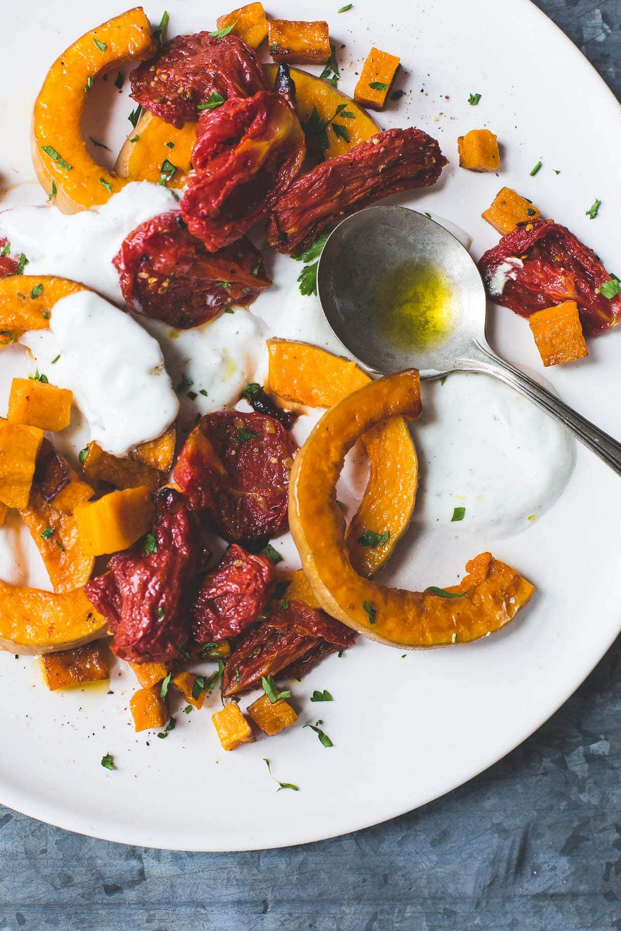 Roasted Tomatoes and Butternut Squash with Cardamom Yogurt Sauce {gluten-free, nut-free}