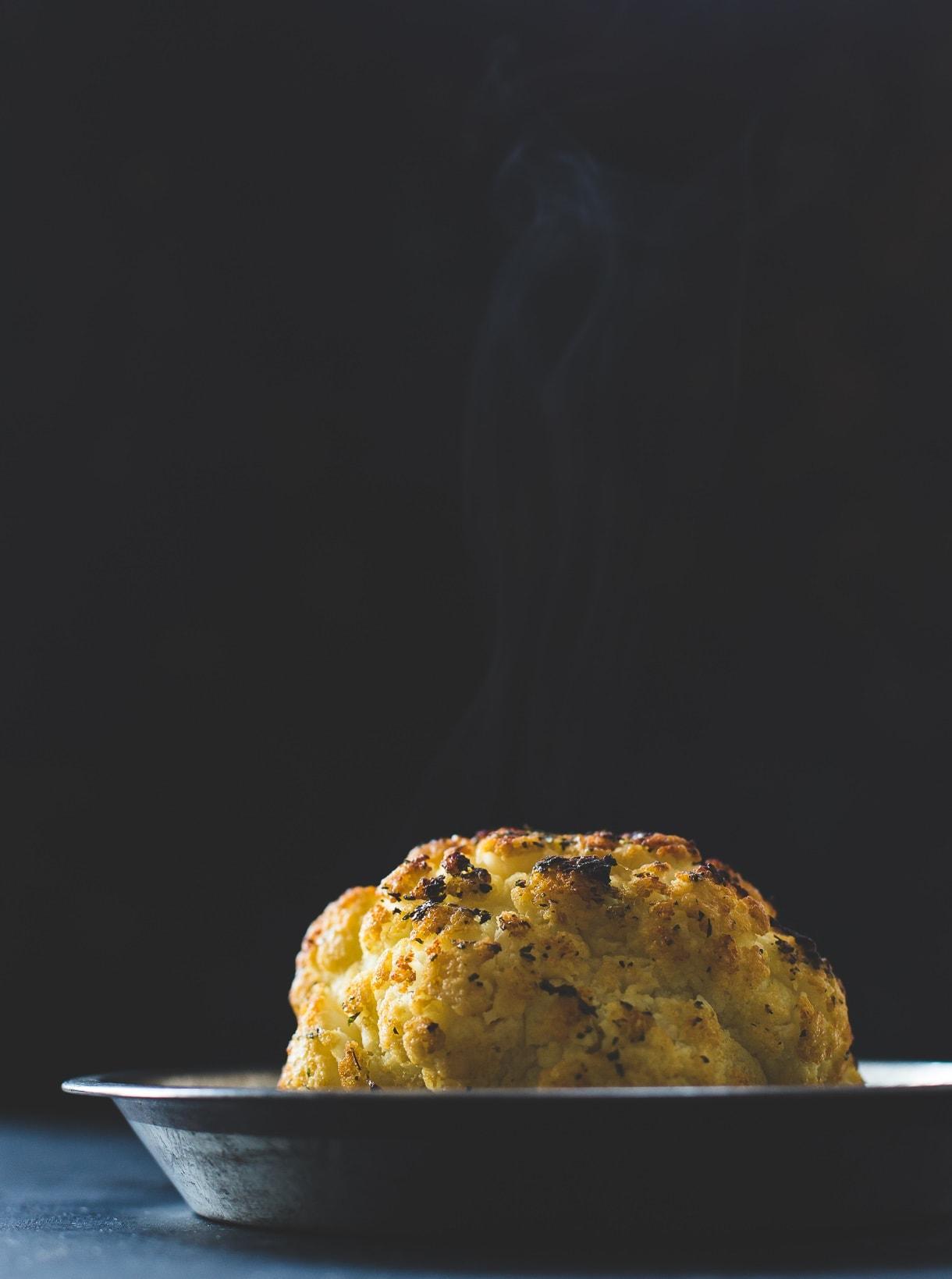 Whole Roasted Cauliflower with Fontina Cheese Sauce {gluten-free, nut-free recipe}