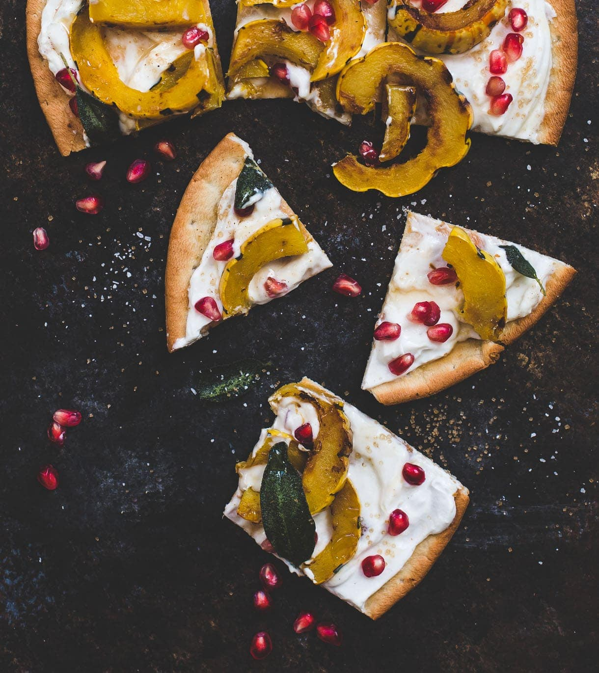 Sweet Delicata Pizza with Fried Sage, Pomegrante, and Honey Yogurt {on a gluten-free pizza crust}