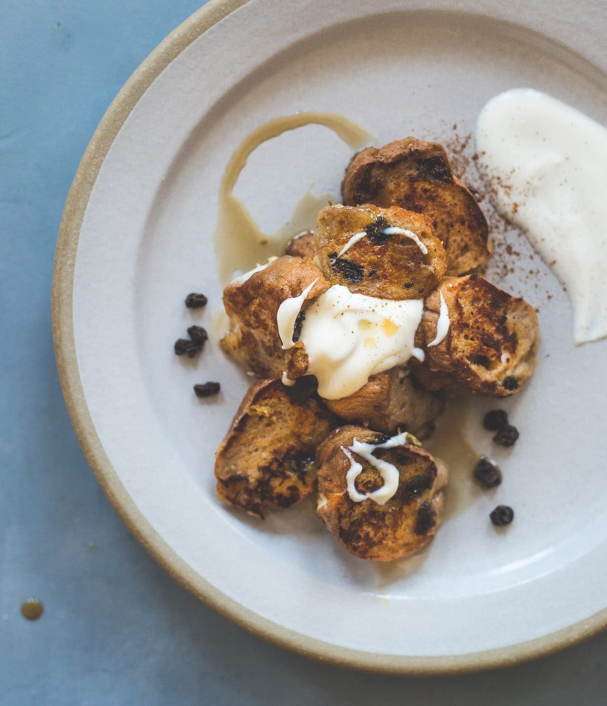 Cinnamon Raisin Bagel French Toast with Creme Fraiche - tastes like a cinnamon roll