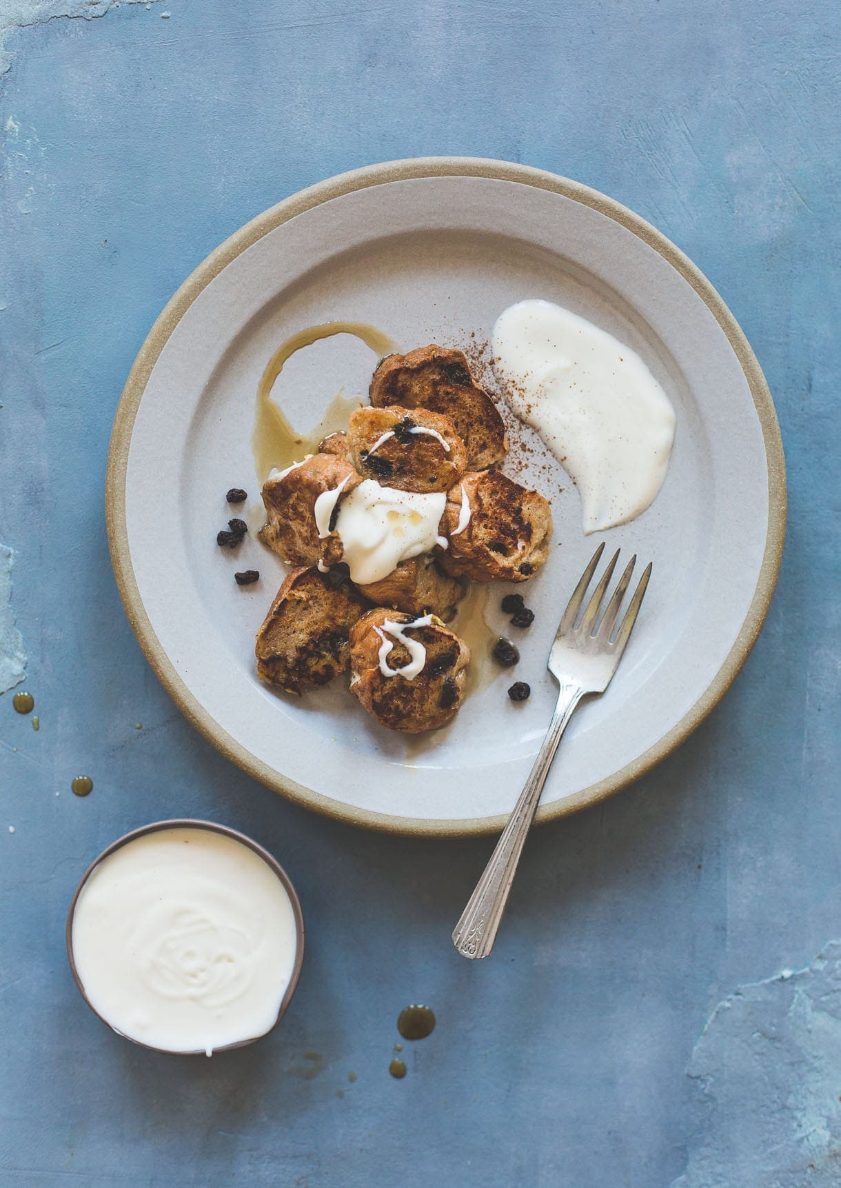 Cinnamon Raisin Bagel French Toast With Creme Fraiche  10 Minutes To Make  And Tastes Just