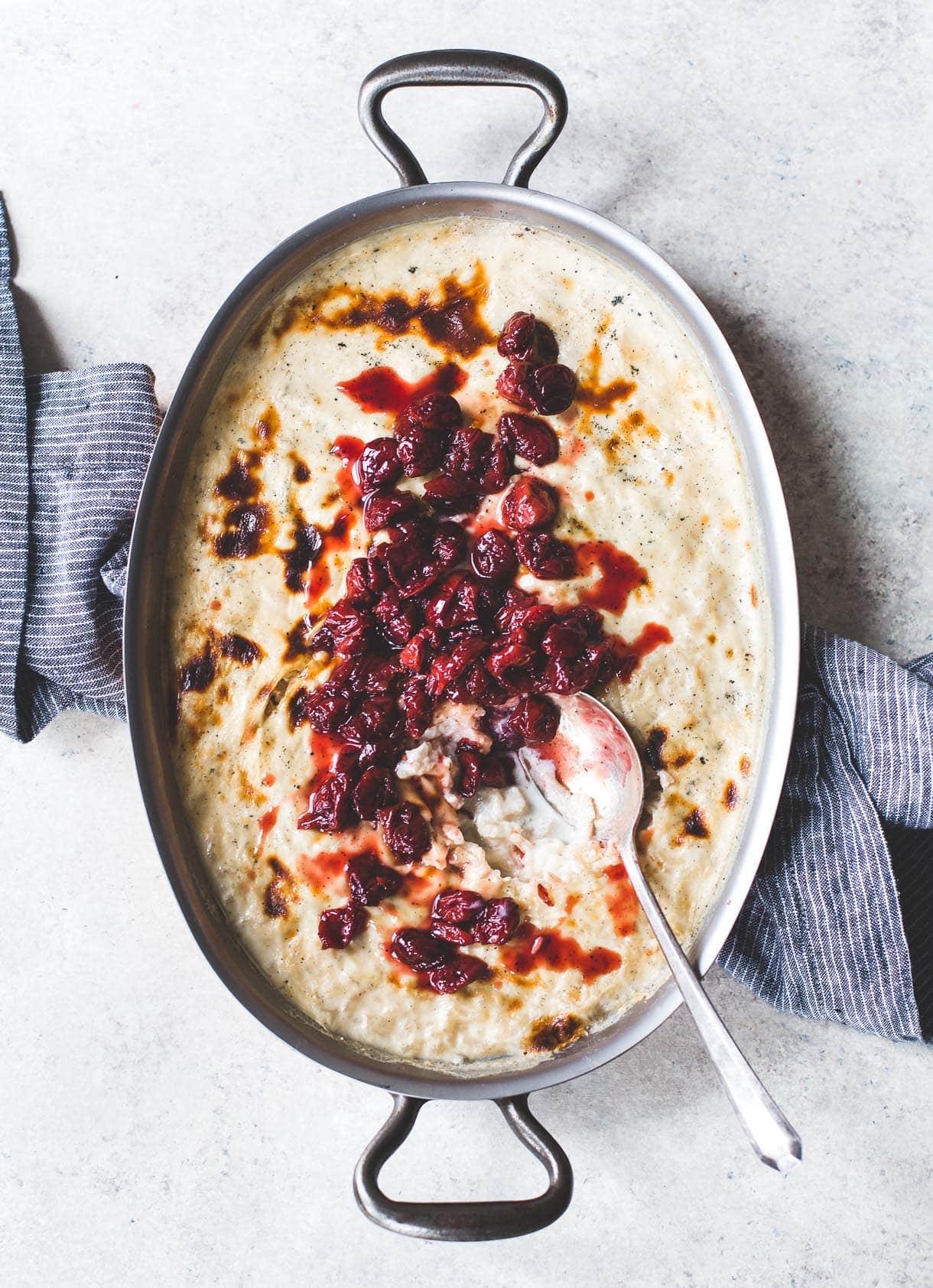 Effortless Baked Rice Pudding with Tart Cherries {gluten-free dessert}