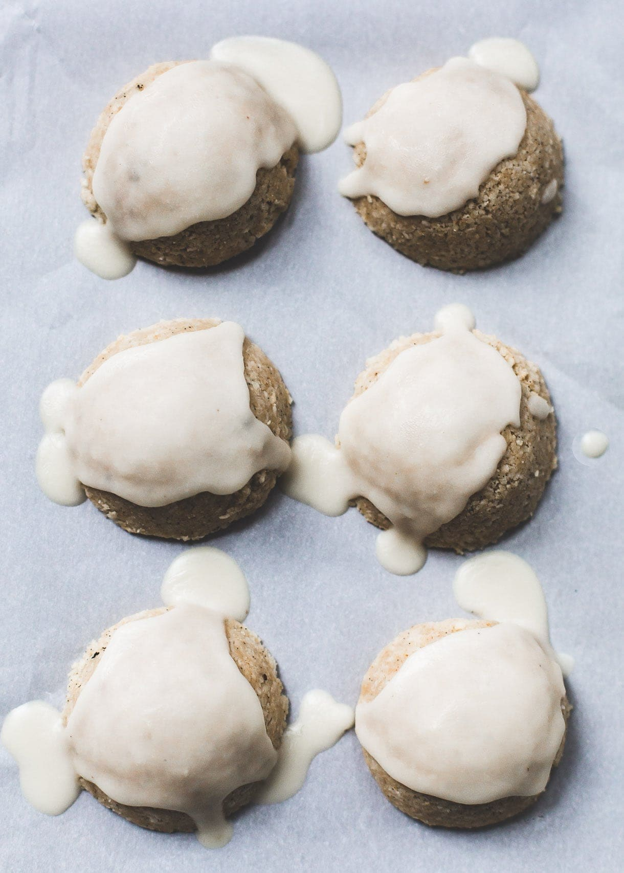 No-Bake Coconut Macaroon Snowcaps {gluten-free}, drizzled with coconut butter.