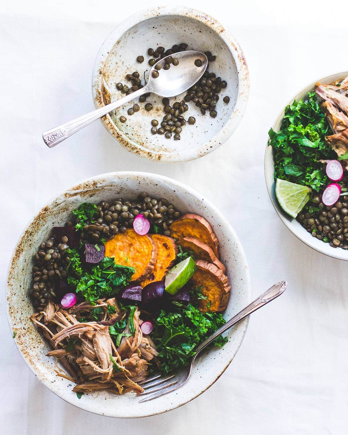 Wholesome Lentil Protein Bowls ~ made with roasted vegatables, steamed greens. basically leftovers!
