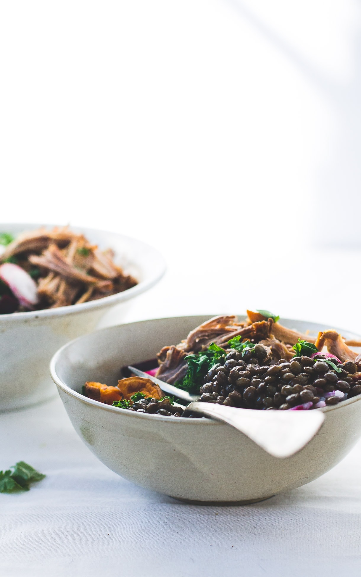 Wholesome Lentil Protein Bowls with Roasted Vegetables and Pork {dairy-free, gluten-free}