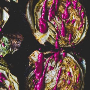 Roasted Cabbage Steaks with Garlicky Beet Sauce {vegetarian}