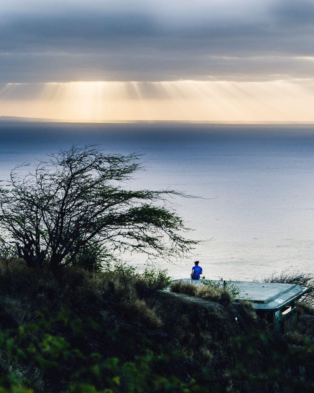 Heavenly Light from above -- sunrise hike diamond head
