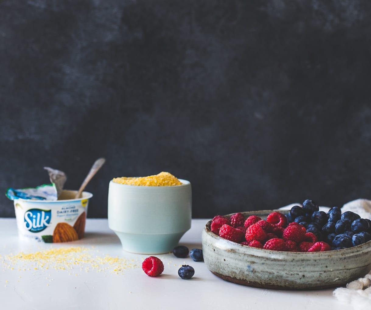 Yogurt Polenta with Berries and Honey {gluten-free, breakfast polenta recipe}