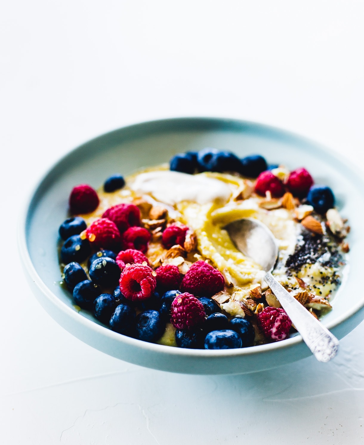 Creamy Polenta Porridge with Berries and Honey {gluten-free, breakfast polenta recipe, berry porridge}
