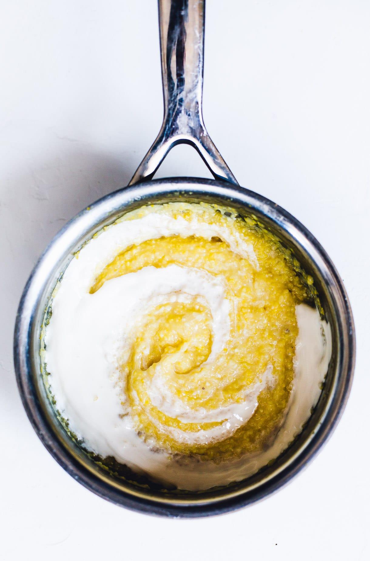 Creamy Polenta Porridge with Berries and Honey {gluten-free, breakfast polenta recipe, berry porridge}