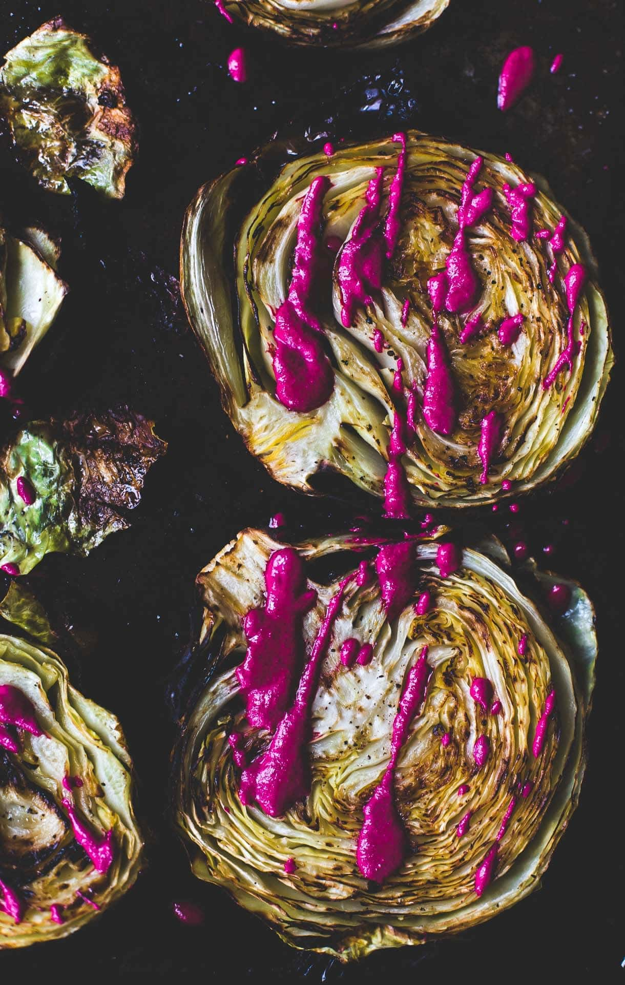 Roasted Cabbage Steaks with Garlicky Beet Sauce / roasted cabbage wedges / vegetarian recipe