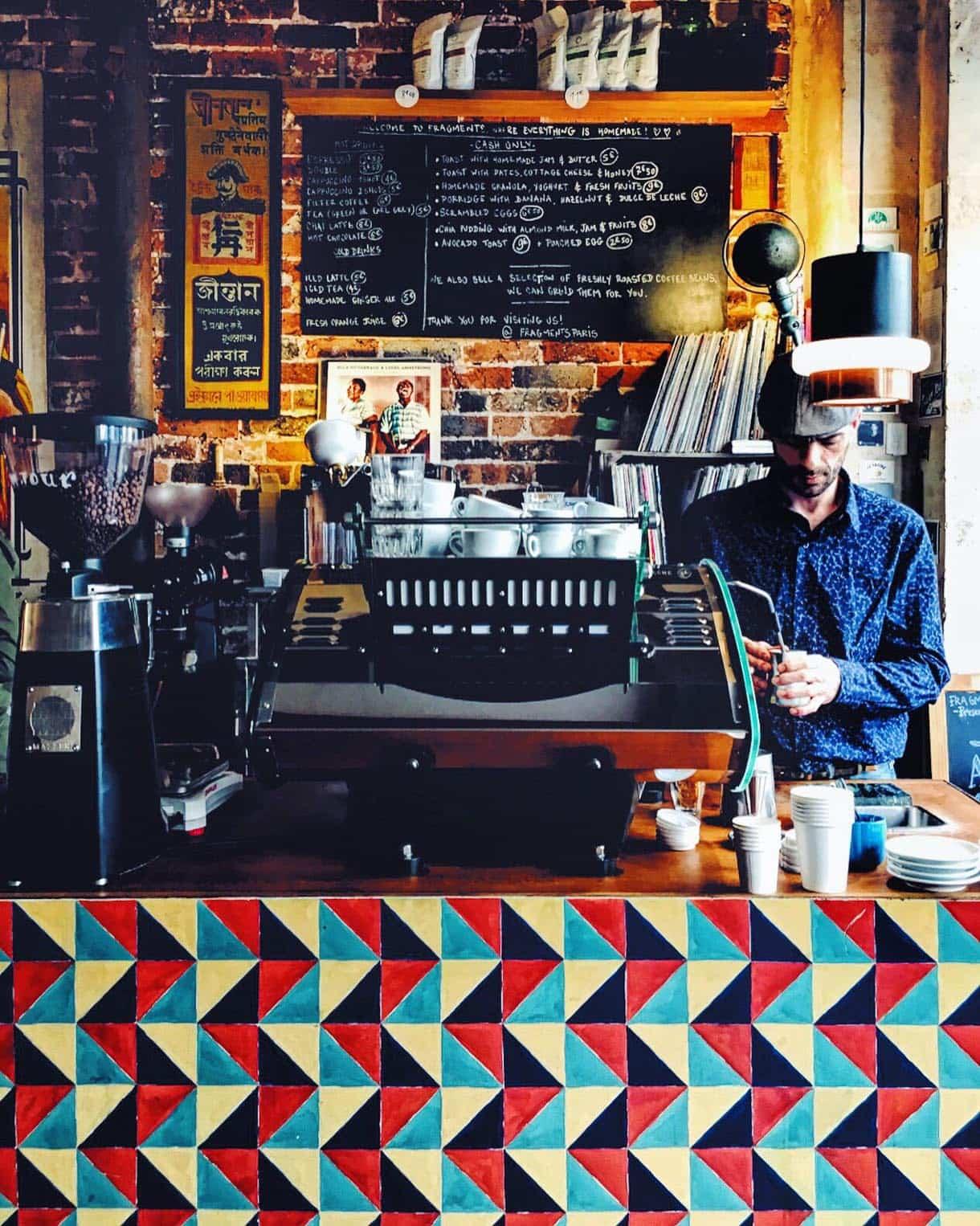 Barista at Fragments, Paris -- fantastic local coffee shop