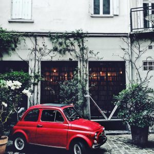 Merci home store - Paris - red fiat in Paris - french fiat