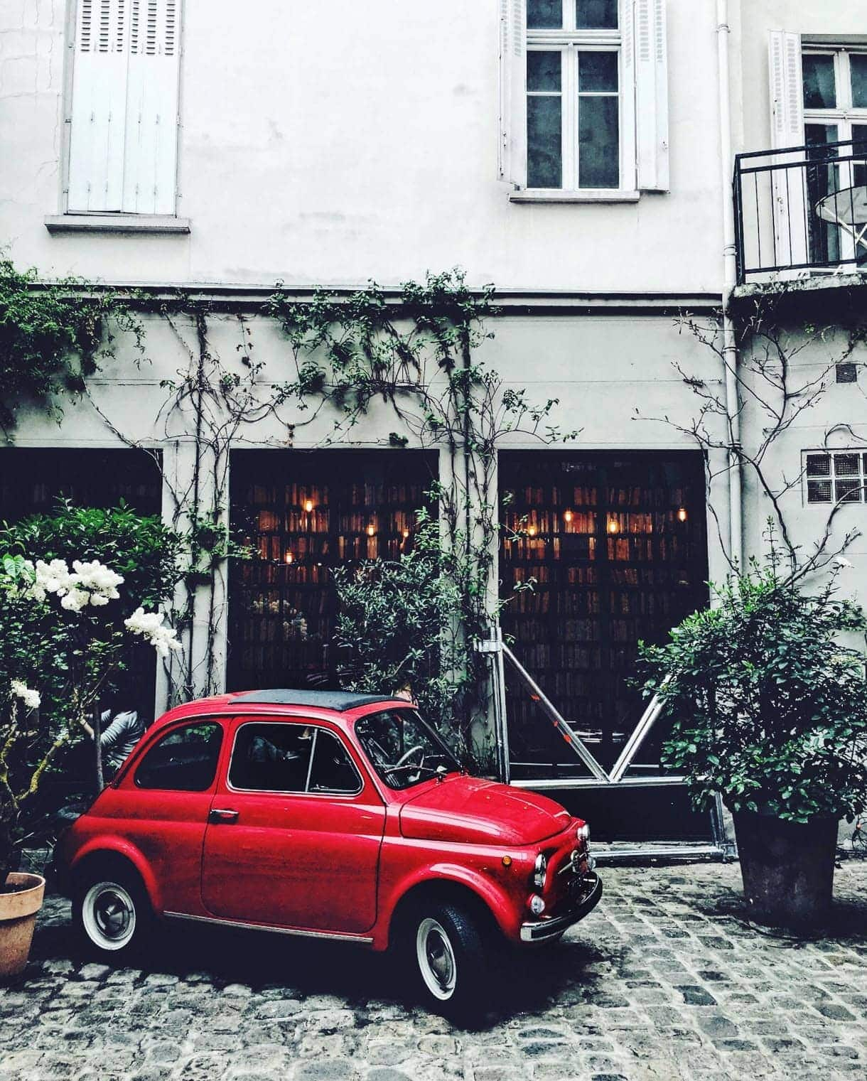 A Paris vacation without plans: Merci home store - Paris - red fiat in Paris - french fiat