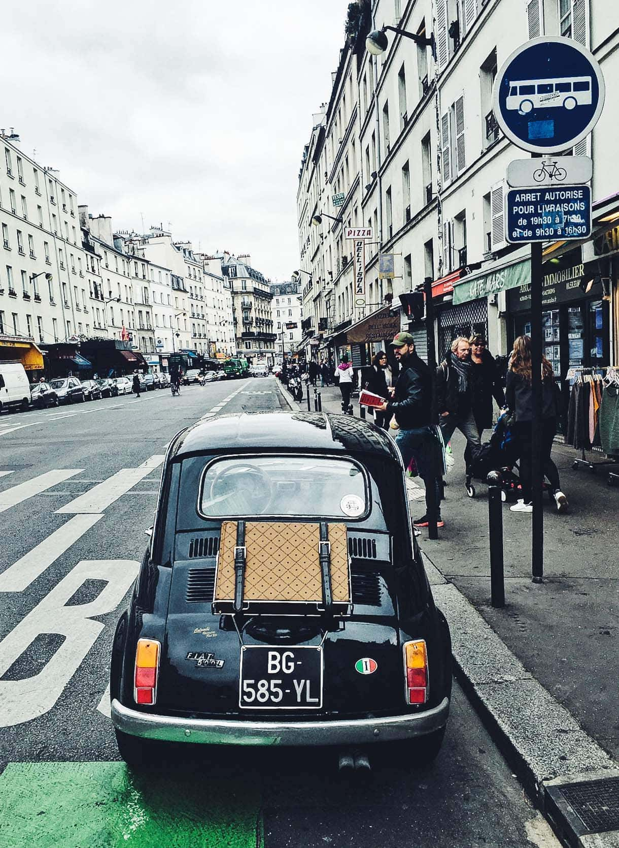 Old black fiat in Paris