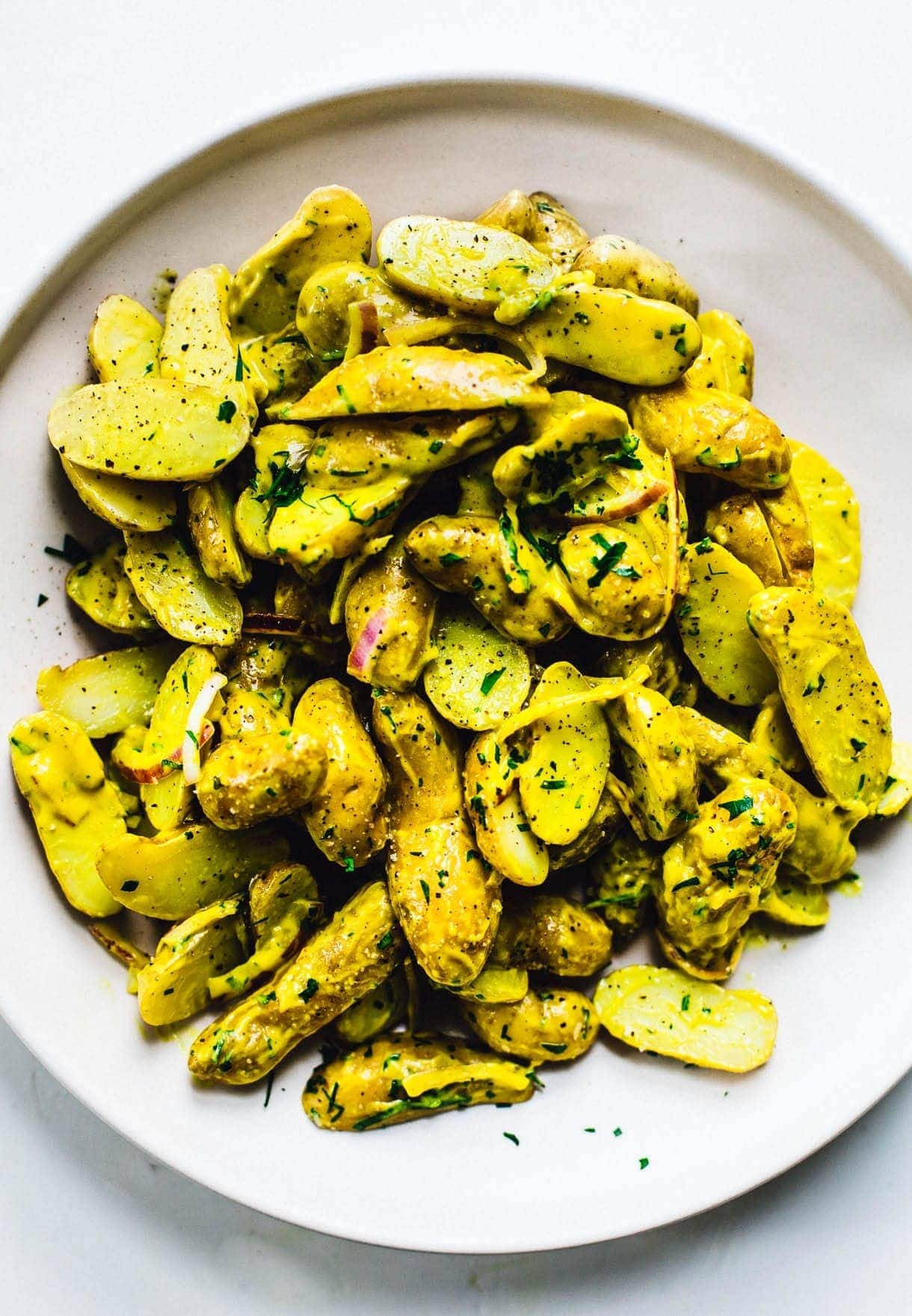 Sunshine Turmeric Potato Salad // golden potato salad // fingerling potato salad